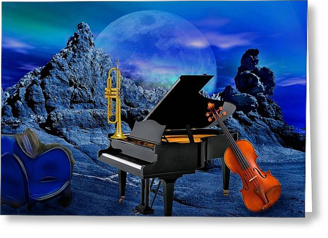 A Little Night Music Greeting Card by Manfred Lutzius