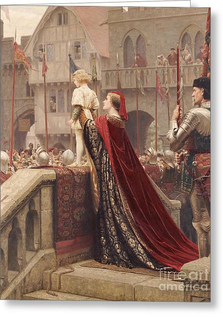 King Arthur Greeting Cards - A Little Prince Likely in Time to Bless a Royal Throne Greeting Card by Edmund Blair Leighton