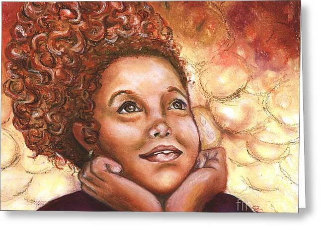 Curly Hair Pastels Greeting Cards - A Little Princess Dreams Greeting Card by Alga Washington