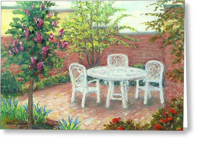 Library Pastels Greeting Cards - A Little Spring Patio  Greeting Card by Nancy Heindl