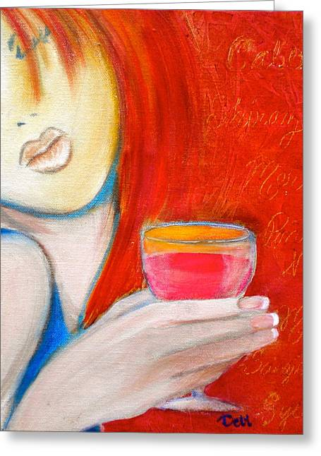 Wine Woman Greeting Cards - A Little Tart Greeting Card by Debi Starr
