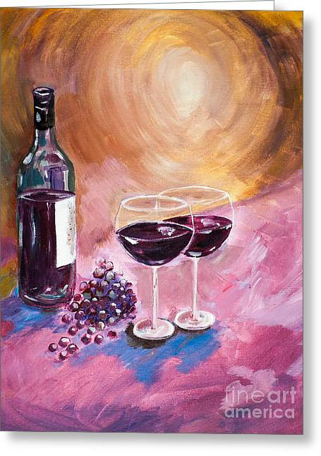 Blue Grapes Greeting Cards - A little Wine on my Canvas - Wine - Grapes Greeting Card by Jan Dappen