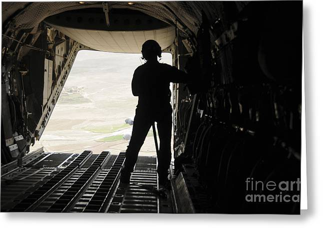 Us Open Photographs Greeting Cards - A Loadmaster Watches Supplies Airdrop Greeting Card by Stocktrek Images