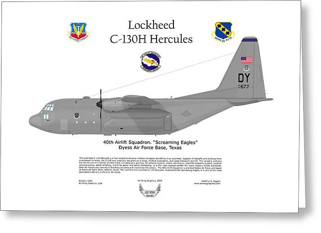 Squadron Graphics Greeting Cards - A Lockheed C-130H Hercules Screaming Eagles Greeting Card by Arthur Eggers