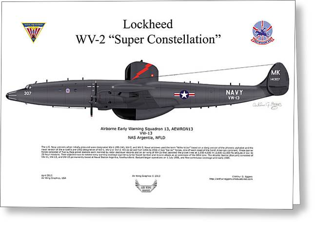 Constellations Greeting Cards - A Lockheed WV-2 Super Constellation Greeting Card by Arthur Eggers