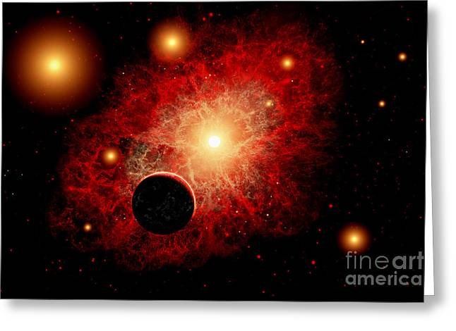 Fantasy World Greeting Cards - A Lone Planet Orbiting A Cluster Of Red Greeting Card by Mark Stevenson