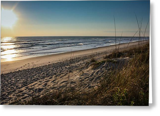 Atlantic Beaches Greeting Cards - A Lonely Beach at Sunrise Greeting Card by Anthony Doudt