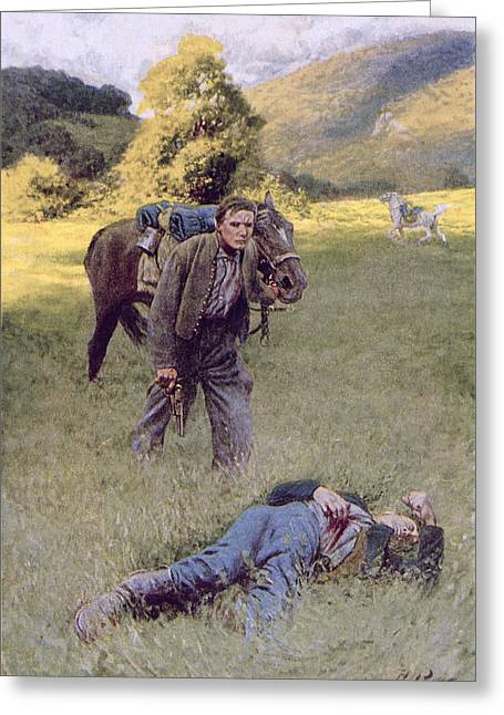 A Lonely Duel In The Middle Of A Great Sunny Field, Illustration From Rowand By William Gilmore Greeting Card by Howard Pyle