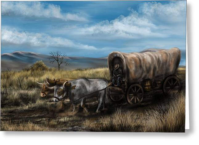 Wooden Wagons Paintings Greeting Cards - A Long Journey - Covered Wagon on the Prairie Greeting Card by Ron Grafe