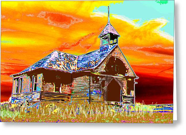 Abandoned School House. Digital Greeting Cards - A Long Recess Greeting Card by Candice Floyd