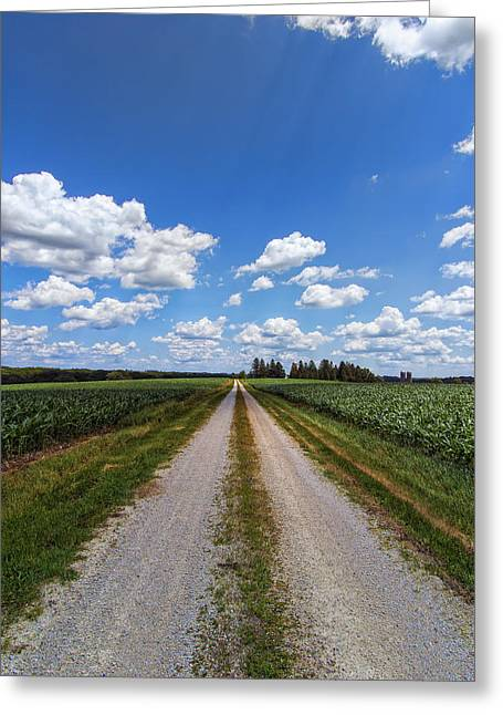 Gravel Road Digital Art Greeting Cards - A Long Rural Road Greeting Card by Bill Tiepelman