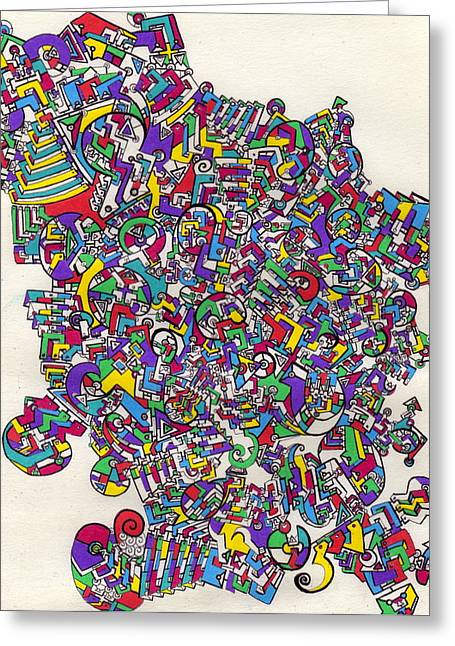 Hallucination Drawings Greeting Cards - A Long Story Greeting Card by Davivid Rose