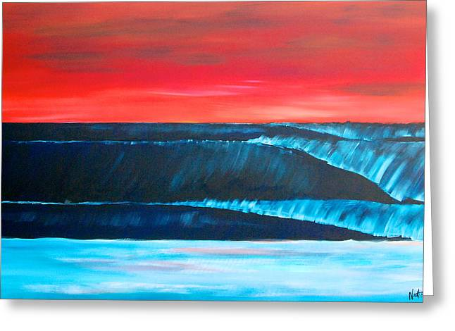 Surfer Art Greeting Cards - A long Way Out to the Blue Horizon Greeting Card by Nathan Paul Gibbs
