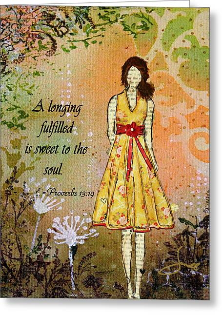 Bible Mixed Media Greeting Cards - A Longing Fulfilled Greeting Card by Janelle Nichol