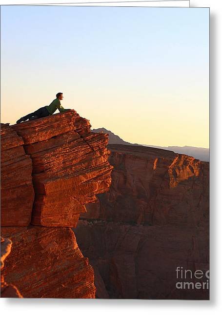 Man Tapestries - Textiles Greeting Cards - A look at the Canyon Greeting Card by Dipali S