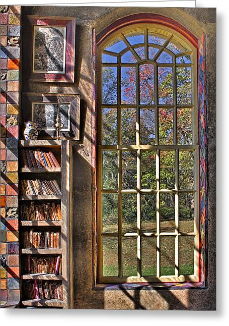 A Look From The Library Greeting Card by Susan Candelario