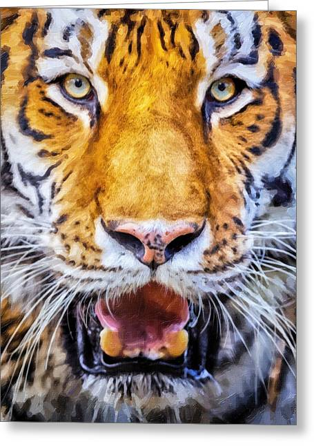 Top Seller Greeting Cards - A look into the tigers eyes Greeting Card by David Millenheft