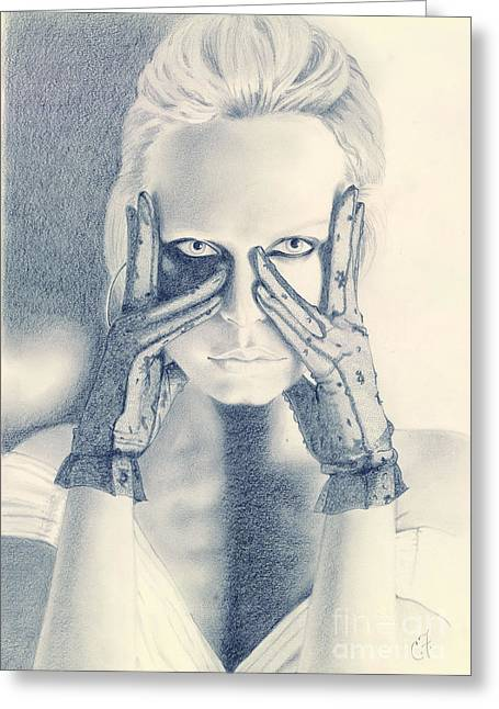 White Gloves Drawings Greeting Cards - A Look to Kill Greeting Card by Chanel Fernandez
