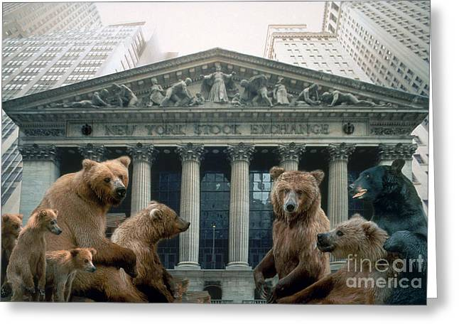 Concept Image Greeting Cards - A Looming Bear Market Greeting Card by Ron Sanford