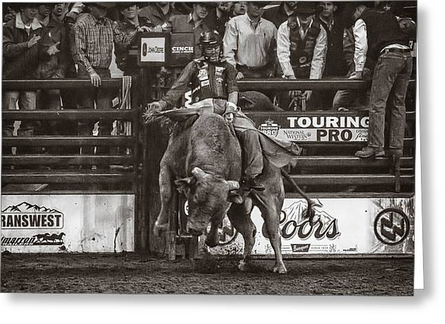 Pbr Greeting Cards - A Lot of Bull at the National Stock Show- sepia Greeting Card by Priscilla Burgers