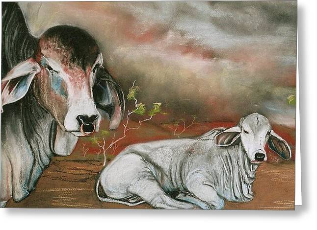 Cattle Cards Pastels Greeting Cards - A Lot of Bull Greeting Card by Sandra Sengstock-Miller