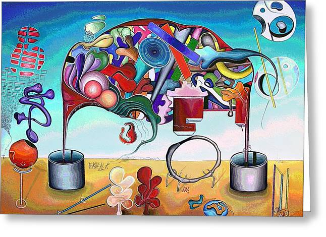 A Love Story/abstraction Of An Elephant Enhanced  Greeting Card by George Curington
