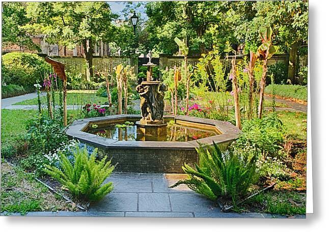 Savannah Parks Gardens Greeting Cards - A Lovely Savannah Georgia Garden Greeting Card by Priscilla Burgers