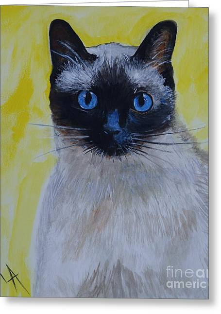 Pictures Of Cats Greeting Cards - A Loving Siamese Greeting Card by Leslie Allen