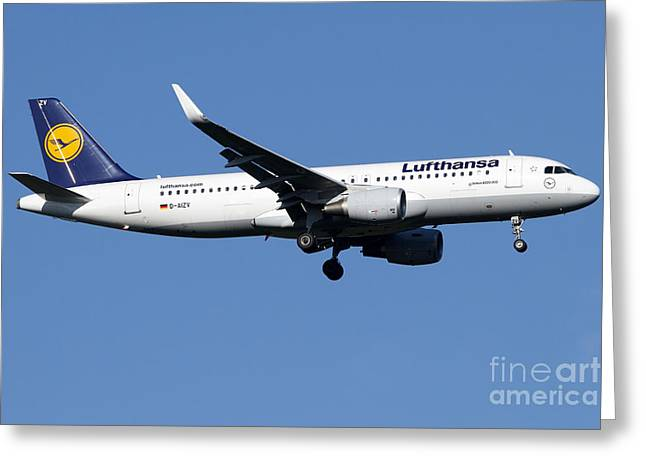 Lufthansa Greeting Cards - A Lufthansa Airbus A320-200 Sharklet Greeting Card by Luca Nicolotti
