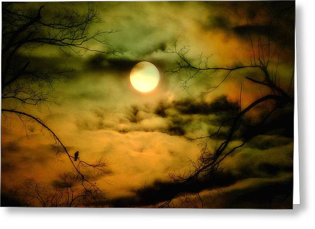 Crows In Trees Greeting Cards - A Lunar Night Greeting Card by Gothicolors Donna Snyder
