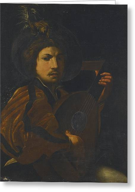 Lute Paintings Greeting Cards - A Lute Player Greeting Card by Celestial Images