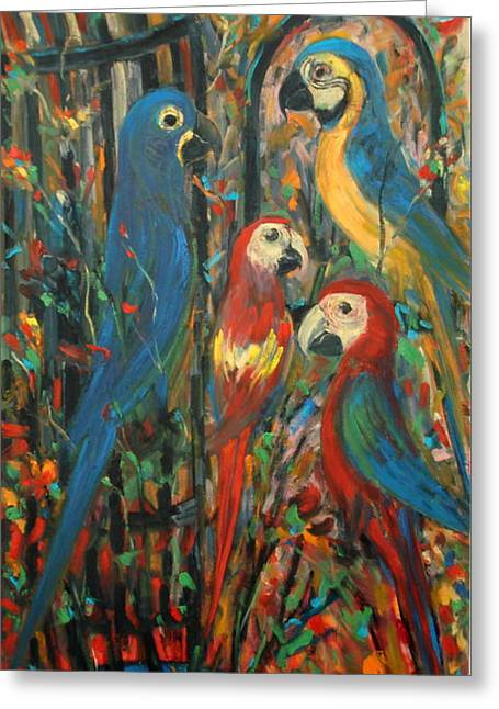Hyacinthe Greeting Cards - A Macaw Extravaganza Greeting Card by Adel Sansur