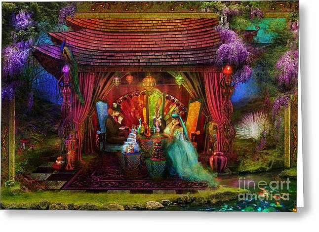 Stewart Greeting Cards - A Mad Tea Party Greeting Card by Aimee Stewart