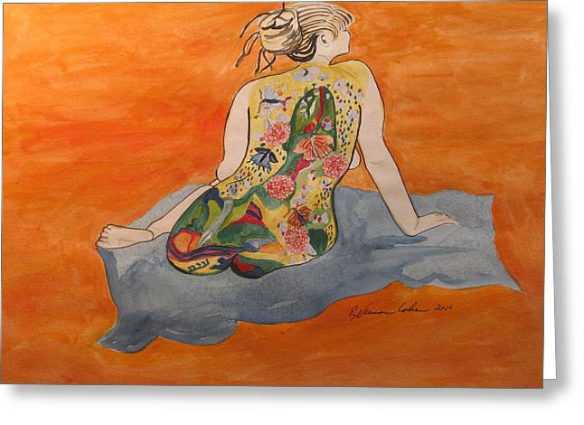 Artistic Nude Framed Prints Greeting Cards - A Magic Carpet Nude Greeting Card by Esther Newman-Cohen
