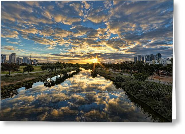 Israeli Digital Greeting Cards - A Magical Marshmallow Sunrise  Greeting Card by Ron Shoshani