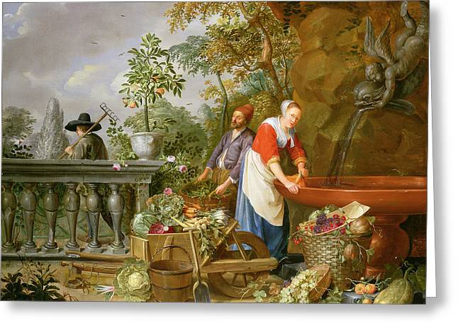 Melon Paintings Greeting Cards - A Maid Washing Carrots At A Fountain Greeting Card by Nicolaas or Nicolaes Muys
