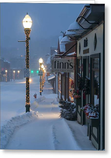 Best Sellers -  - Winter Storm Greeting Cards - A Maine Street Christmas Greeting Card by Patrick Downey
