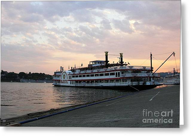 Steamboat Greeting Cards - A Majestic Sunset Greeting Card by Mel Steinhauer