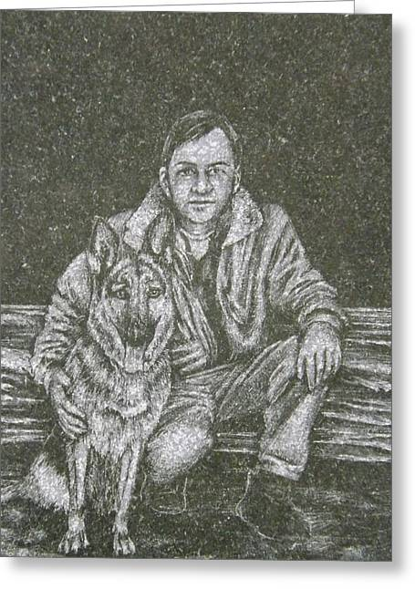 A Man And His Dog Greeting Card by Dennis Pintoski