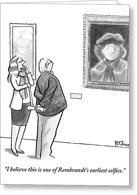 A Man And Woman Stand In A Museum Looking Greeting Card by Benjamin Schwartz