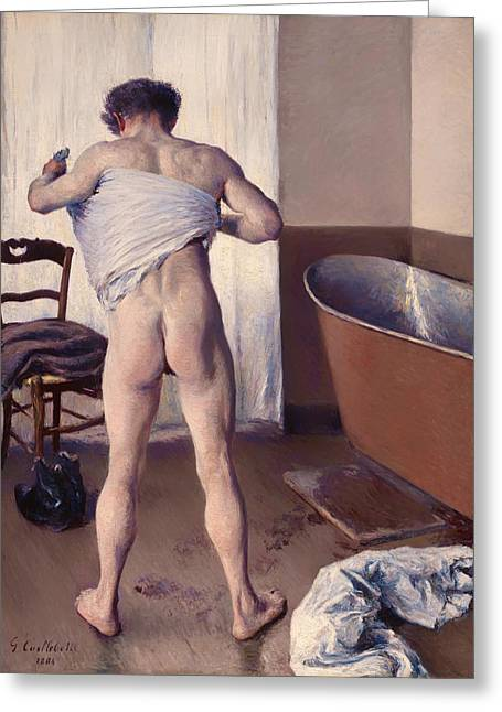 Wet Floor Greeting Cards - A Man at His Bath Greeting Card by Gustave Caillebott