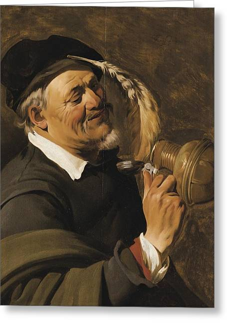Flagon Greeting Cards - A Man Drinking From An Earthenware Flagon Greeting Card by Haarlem School