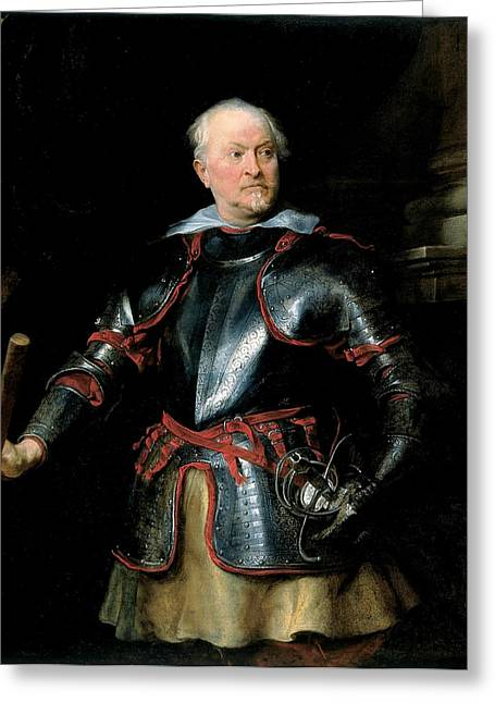 Armor Greeting Cards - A Man In Armour, C.1621-27 Oil On Canvas Greeting Card by Sir Anthony van Dyck