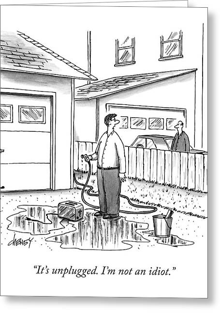 A Man In His Driveway Sprays A Toaster Greeting Card by Tom Cheney
