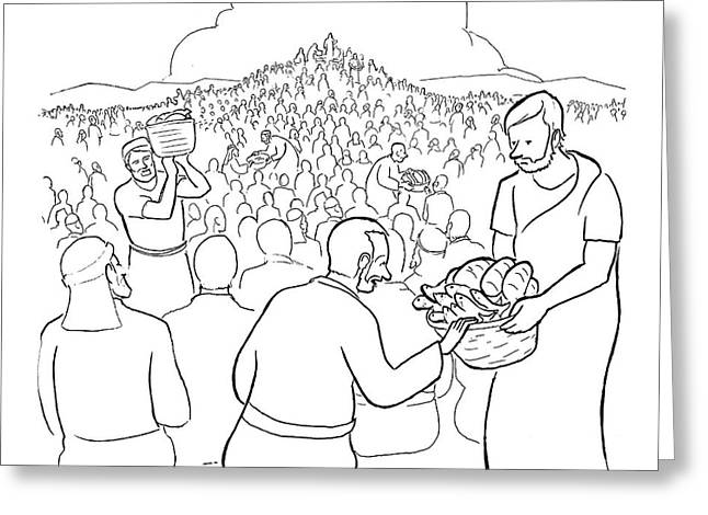 A Man Is Passing Out Loaves And Fish To A Large Greeting Card by Paul Noth