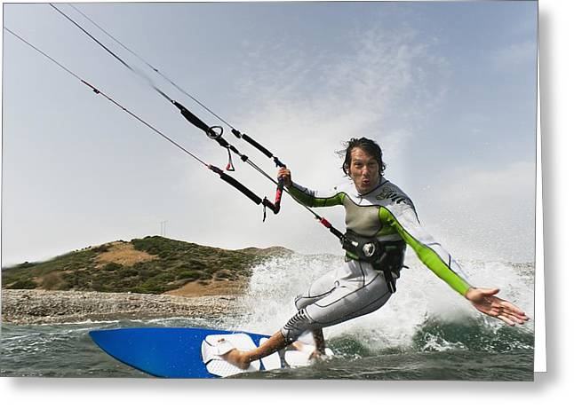 Kite Surfing Greeting Cards - A Man Kite Surfing Off The Coast Of Greeting Card by Ben Welsh