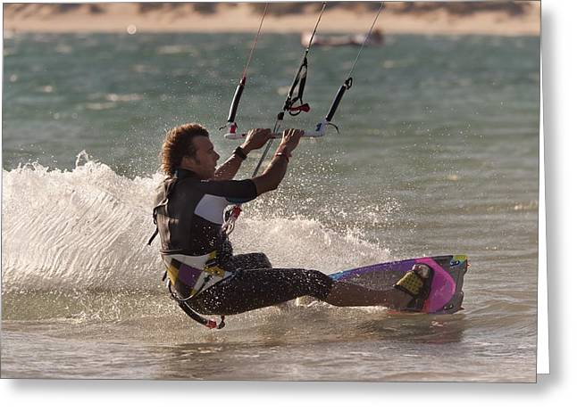 A Man Kitesurfing Tarifa, Cadiz Greeting Card by Ben Welsh