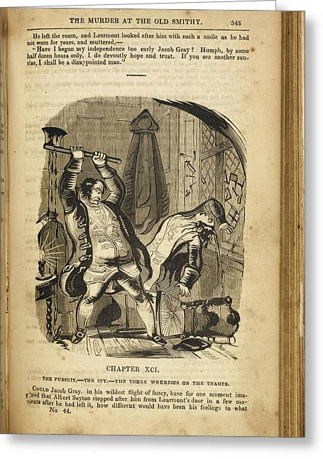 A Man Murdering Another With An Axe Greeting Card by British Library