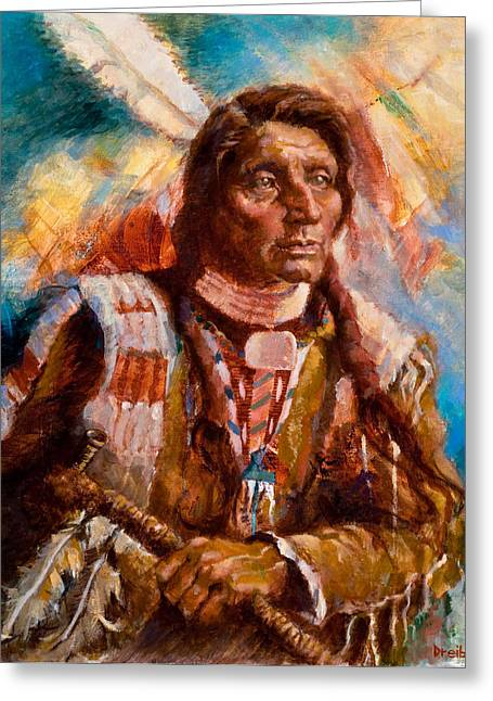 A Man Of Peace Greeting Card by Ellen Dreibelbis
