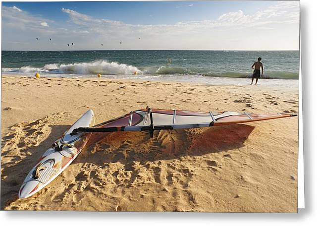 50-59 Years Greeting Cards - A Man On The Beach With His Windsurfing Greeting Card by Ben Welsh